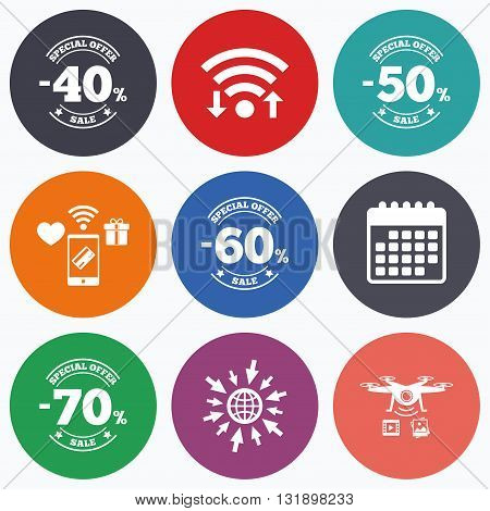 Wifi, mobile payments and drones icons. Sale discount icons. Special offer stamp price signs. 40, 50, 60 and 70 percent off reduction symbols. Calendar symbol.