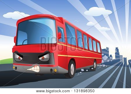 illustration of a commercial red bus exceed speed limits on city background