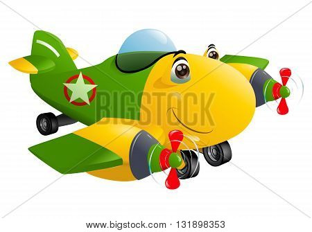 illustration of a yellow commercial plane double engine flying away to destination on isolated background