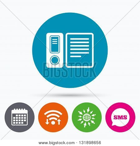 Wifi, Sms and calendar icons. Document folder sign. Accounting binder symbol. Bookkeeping management. Go to web globe.