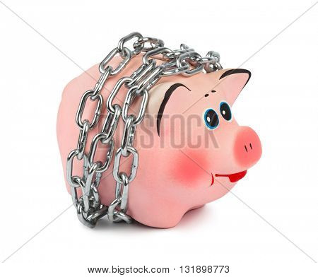 Piggy bank and chains isolated on white background
