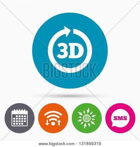 Wifi, Sms and calendar icons. 3D sign icon. 3D New technology symbol. Rotation arrow. Go to web globe.