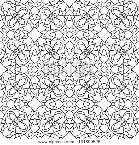 Black anb white seamless pattern. Decorative ornament for coloring book, page.