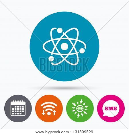 Wifi, Sms and calendar icons. Atom sign icon. Atom part symbol. Go to web globe.