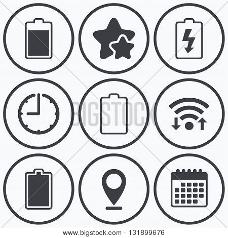 Clock, wifi and stars icons. Battery charging icons. Electricity signs symbols. Charge levels: full, empty. Calendar symbol.