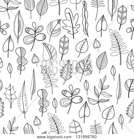 Black and white seamless pattern with leaves, floral background for coloring book, page. Vector illustration