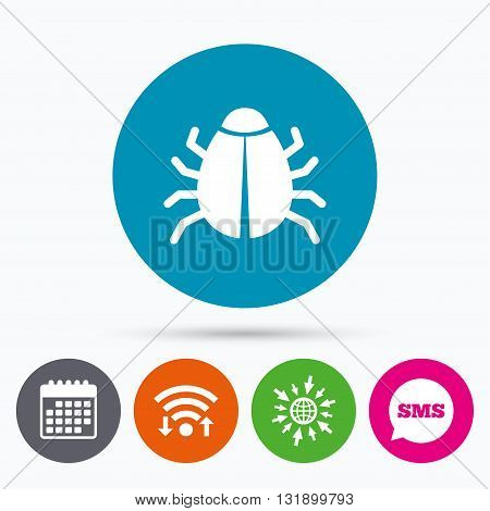 Wifi, Sms and calendar icons. Bug sign icon. Virus symbol. Software bug error. Disinfection. Go to web globe.