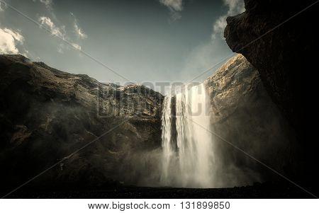 Photo of a Breathtaking Waterfall Skogafoss in Iceland