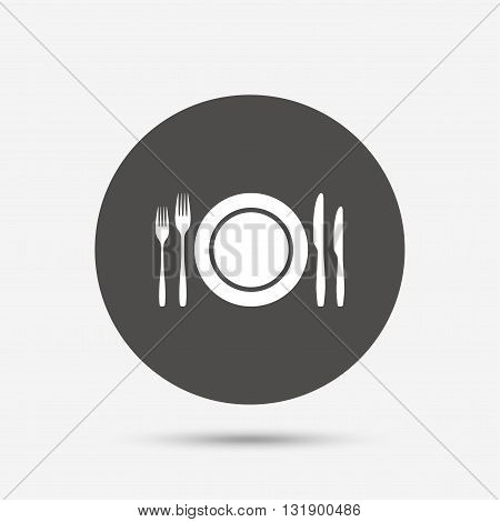 Plate dish with forks and knifes. Eat sign icon. Cutlery etiquette rules symbol. Gray circle button with icon. Vector