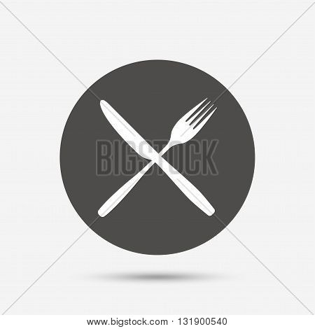 Eat sign icon. Cutlery symbol. Fork and knife crosswise. Gray circle button with icon. Vector