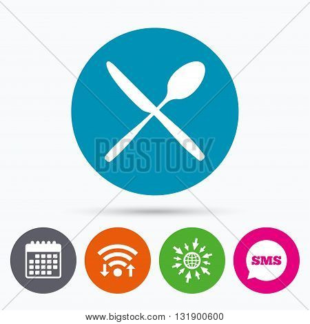 Wifi, Sms and calendar icons. Eat sign icon. Cutlery symbol. Knife and spoon crosswise. Go to web globe.