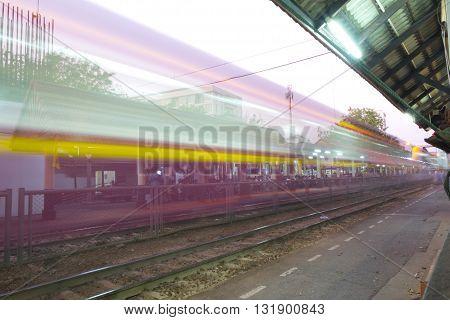 Samsen Thailand - Feburary 05 2016: Thai Railways regional train on Track One at the Samsen Railway Station