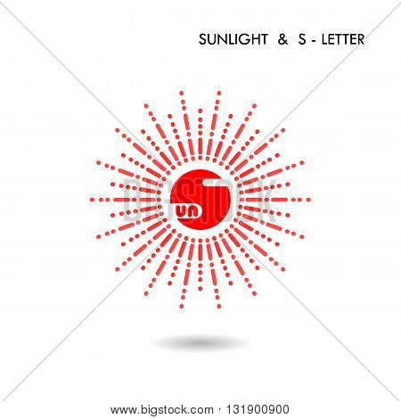 Red circle sign and Sun icon.Sunlight sign.Creative S-letter icon abstract logo design.S-alphabet and Sunlight symbol.Vector illustration