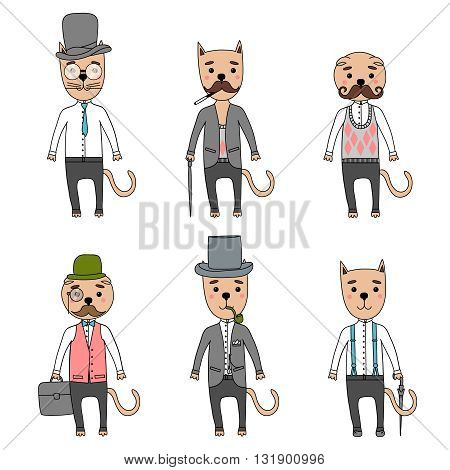 Hand Drawn vector Illustration. Gentleman cats in hipster accessories.