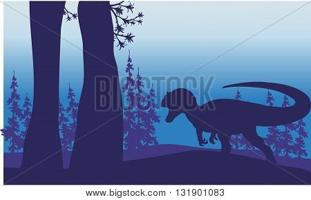 Silhouette of one allosaurus in forest with purple backgrounds