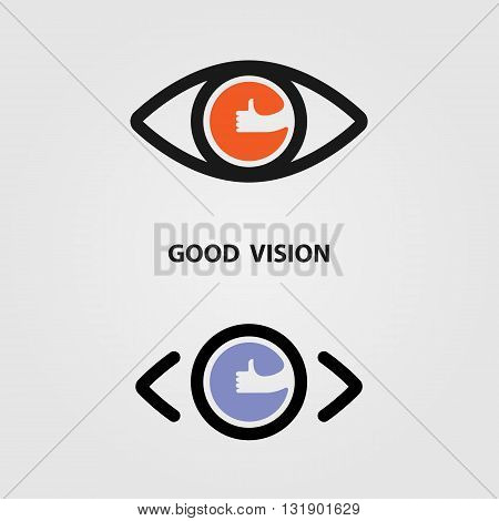 Good vision logo design.The best vision idea concept.Human eye icon and hand icon vector design.Human eye and hand logotype concept idea.Vector illustration