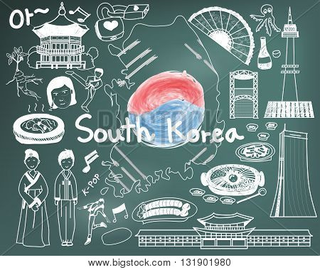 Travel to South Korean doodle drawing icon with culture costume landmark and cuisine tourism concept in blackboard background. The Korean text in the picture means