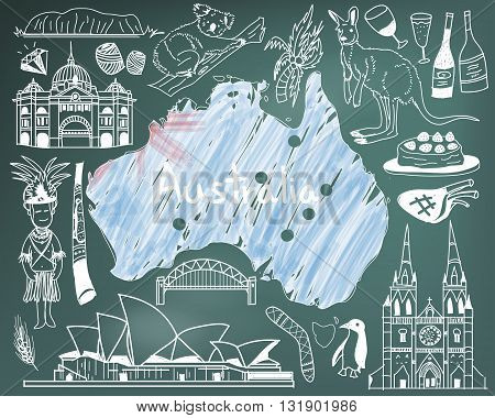 Travel to Australia doodle drawing icon with people culture costume landmark and cuisine tourism concept in blackboard background create by vector