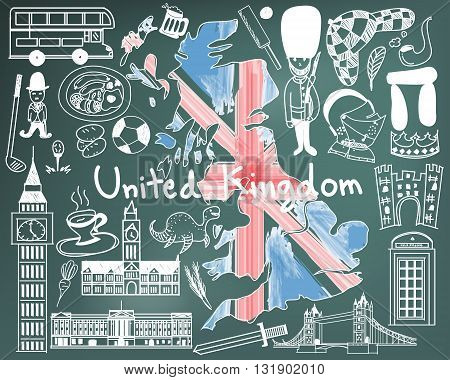 Update version - Travel to United kingdom England and Scotland doodle drawing icon with culture costume landmark and cuisine tourism concept in blackboard background create by vector