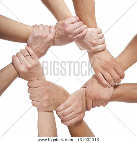 Concept photo of success teamwork isolated on white background
