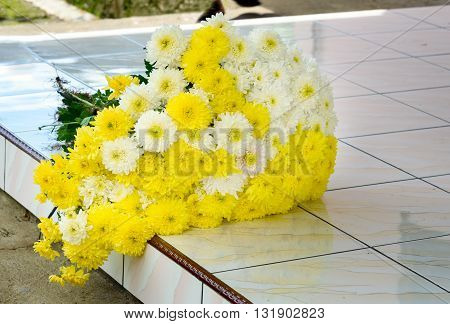 Bouquet Of Chrysanthemums On The Doorstep