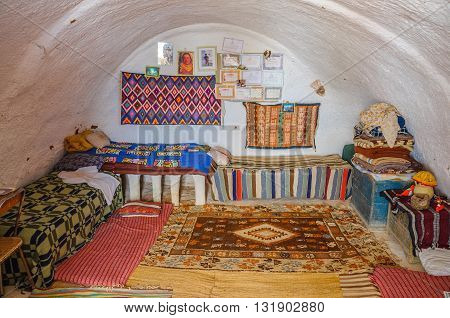 HAMMAMET TUNISIA - Oct 2014: Interior of bedoin berber house in Sahara desert on October 7 2014 in Hammamet Tunisia