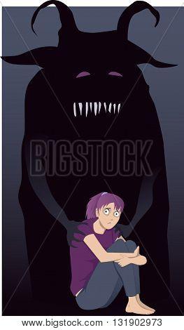 Sad girl sitting hugging her knees, a monster touching her shoulders, vector illustration
