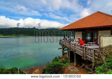 Tomohon Indonesia - Dec 23 2015: Restaurant on the Linau lake in Tomohon. North Sulawesi