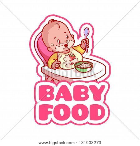 Cute kid in baby highchair with plate of porridge. Logo for baby food company. Vector clip-art illustration isolated on a white background.