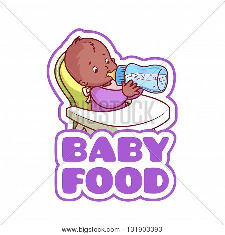 Cute african american kid in baby highchair with bottle of milk. Logo for baby food company. Vector clip-art illustration isolated on a white background.