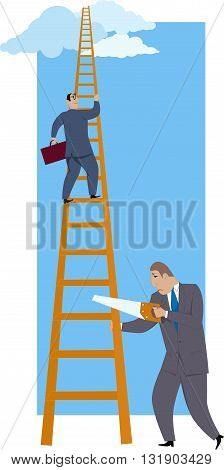 Career sabotage. A man sawing a ladder under a successful co-worker