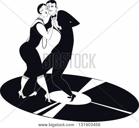 Funny cartoon couple dancing tango on a gramophone record, black and white vector clipart