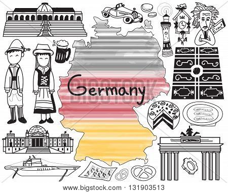 Travel to Germany doodle drawing icon with culture costume landmark and cuisine tourism concept in isolated background create by vector