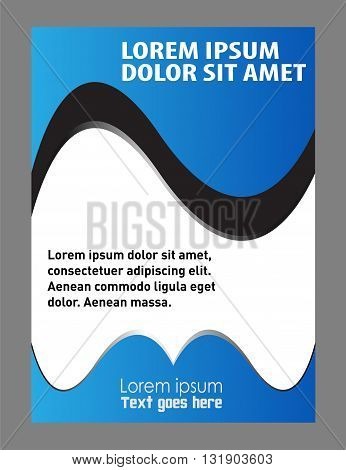 Vector design of the flyer whit black and blue background