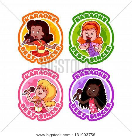 Four stickers with singing girls. Medal for best singer in karaoke. Vector cartoon illustration isolated on a white background.