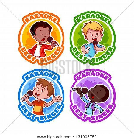 Four stickers with singing boys. Medal for best singer in karaoke. Vector cartoon illustration isolated on a white background.