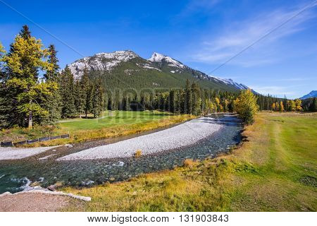 Sunny day in the Rocky Mountains of Canada.  The drying-up stream in the mountain valley park Banff