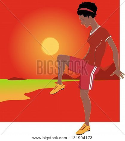 Young Latina woman playing football with a sun, sea shore landscape on the background, vector illustration