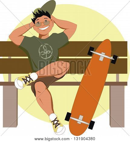 Longboard skater sitting on a bench, EPS8 vector illustration