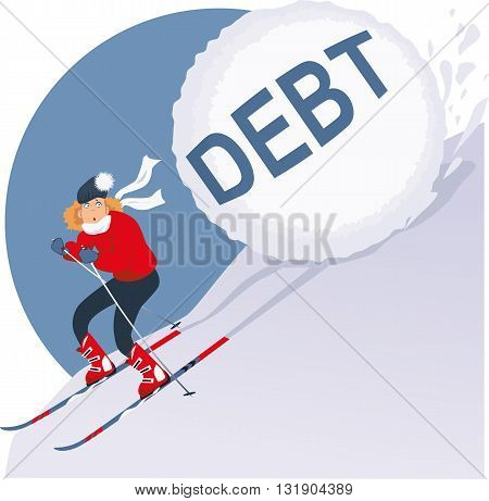 Woman running on skis from an avalanche of winter holidays debt, vector illustration, EPS 8