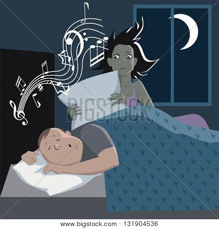 Man sleeping and snoring, musical symbols coming out of his mouth, an upset owl covering his ears, vector cartoon