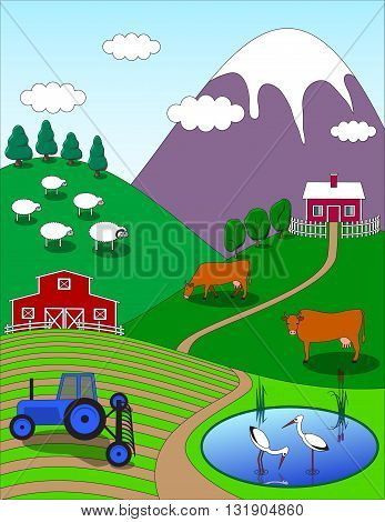 Colorful farm countryside cartoon background. Birds animals trees lake. Vector illustration.
