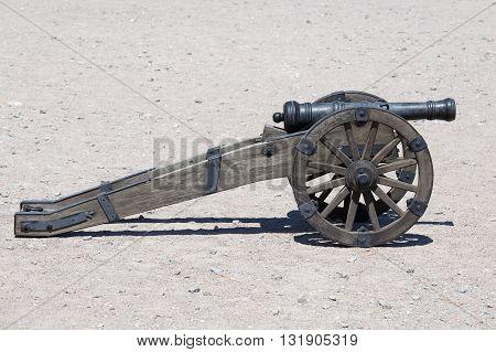 Ancient artillery cannon in Kiev Ukraine . Close up