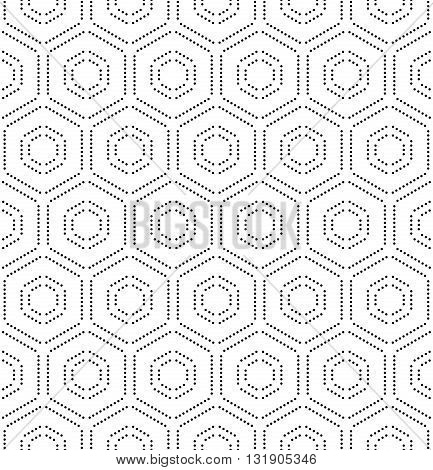 Geometric repeating ornament with hexagonal dotted elements. Seamless abstract modern pattern