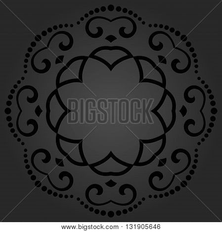 Floral round dark pattern with fine arabesques. Abstract oriental ornament