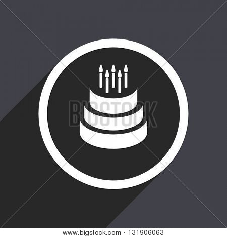 Birthday cake icon. Flat design vector button. Web and mobile app design illustration