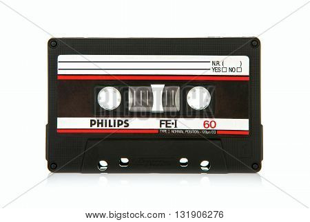 SWINDON UK - MAY 29 2016: close up of Philips FEI 60 vintage compact cassette audio tape