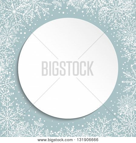 Nice pattern with volume white circle in the center and snowflakes. Fine greeting card