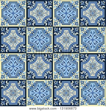 Hand drawing seamless pattern for tile in blue and yellow colors. Italian majolica style. Vector illustration. The best for your design, textiles, posters