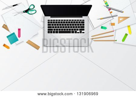 Messy office and working space product mockup template layout background with many papers and object and blank space on the bottom create by vector